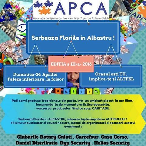 """""""Serbează Floriile în Albastru"""" -  eveniment caritabil în beneficiul copiilor din APCA"""