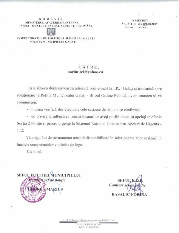 Milițienii comisarului șef Dobrea s-au abstractizat și se ceartă cu adresele de mail ale petenților