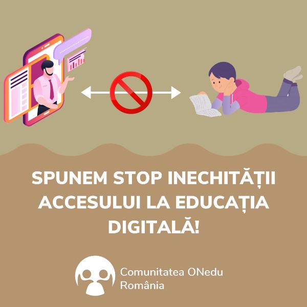 Comunitatea ONedu România spune STOP inegalității de șanse pentru accesul la educația digital